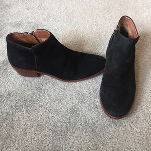 Sam Edelman Black Suede Booties, size 8.
